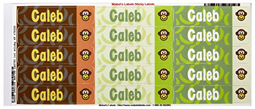 Mabel'S Labels 40845021 Peel And Stick Personalized Labels With The Name Caleb And Monkey Icon, 45-Count front-837650