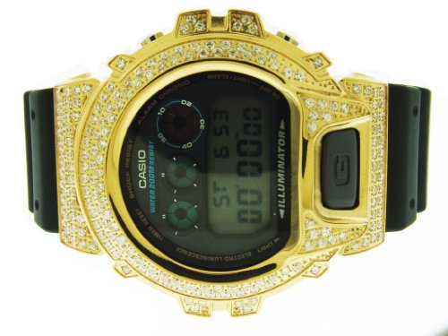 Men's Casio G Shock High Quality White Cz Watch Yellow Case Black Face