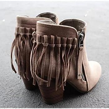 Febelle Fashionable Women Scrub Bigh-heeled Boots High Heel boots Women Hot Vintage Khaki & 38