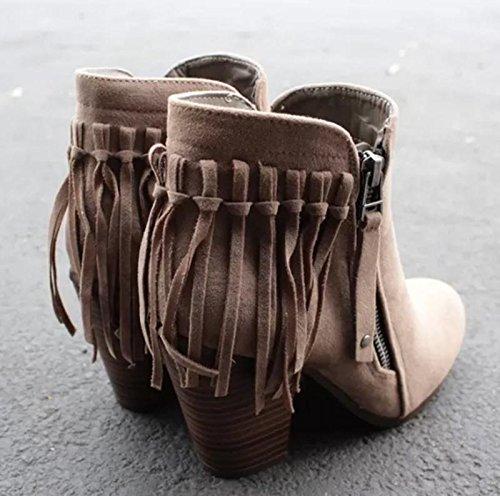 Febelle Fashionable Women Scrub Bigh-heeled Boots High Heel boots Women Hot Vintage Khaki & 38 2