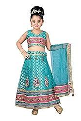 Aarika Girls' Self Design Chandeli Silk Lehenga Choli and Dupatta Set