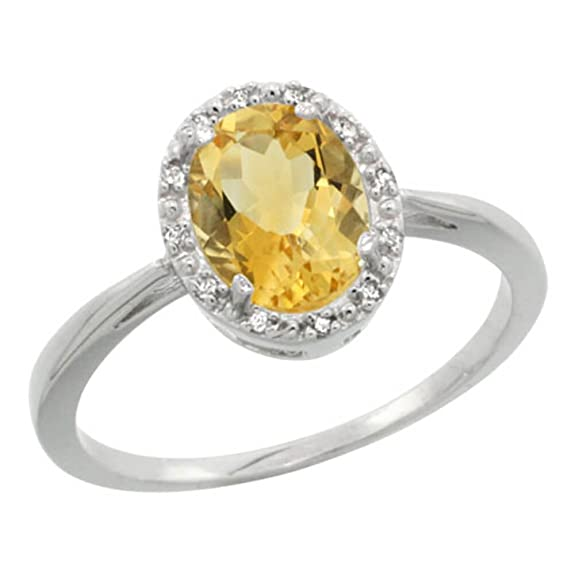 Revoni Sterling Silver Citrine And Diamond Ring, Oval Stone (8X6 mm)