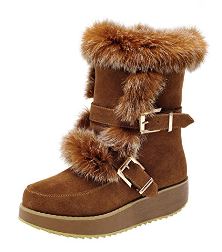 Milanao Women Winter Leather Thick Tpr Soles Leisure Mid Heel Snow Boots(7 B(M)Us,Chestnut)