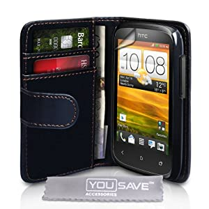 Yousave Accessories PU Leather Wallet Cover Case with Screen Protector for HTC Desire C - Black