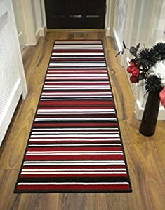 Modern Stripe Rug Red Black Hall Runner 60cm x 220cm by FLAIR