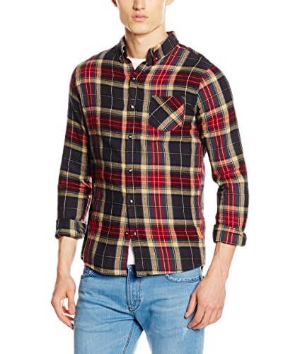 New Caro Camisa Hombre Galiano Gris Oscuro / Rojo