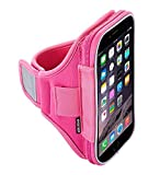 Sporteer Velocity V7 Armband for iPhone 6 Plus, Nexus 6P, Samsung Galaxy S6 Edge+, Galaxy Note 5, Galaxy Note 4, and Other Large Phones/Cases up to 160mm x 80mm x 15mm (Pink, Strap Size S/M)