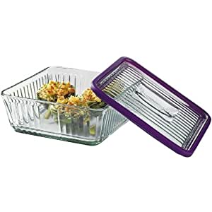 Anchor Hocking Bake 'N' Store Glass Baking Dish with Lid and Eggplant Silicone Gasket Sleeve, 12 Cup