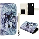 Wallet Snow Wolf LG Optimus G E970 E971 E973 E974 (DesignFit Only AT&T) Case Cover Leather Flip Wallet ID Pouch Phone Snap on Cover Case