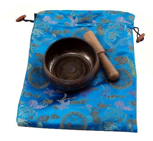 Tibetan Buddhist Singing Bowl Blue Bag Gift Set