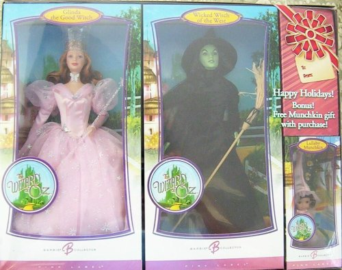 The Wizard of Oz Barbie Holidays 3-Piece Gift Set - Glinda the Good Witch, Wicked Witch of the West & Lullaby Munchkin