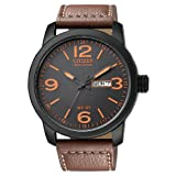 """Citizen Mens BM8475-26E """"Eco-Drive"""" Stainless Steel and Synthetic Leather Strap Watch"""
