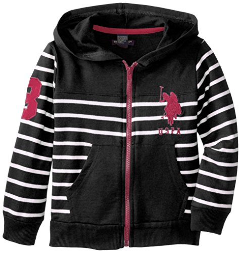 U.S. Polo Assn. Little Girls' Striped French Terry Hoodie With Embroider Horse, Black, 6X