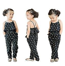 Summer Girls Black Heart Print Halter Backless Jumpsuit 6T