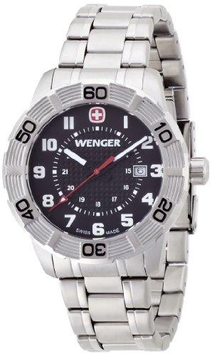 Wenger Roadster 01.0851.102 - Reloj analógico de cuarzo para hombre, correa de acero inoxidable color plateado (agujas luminiscentes)