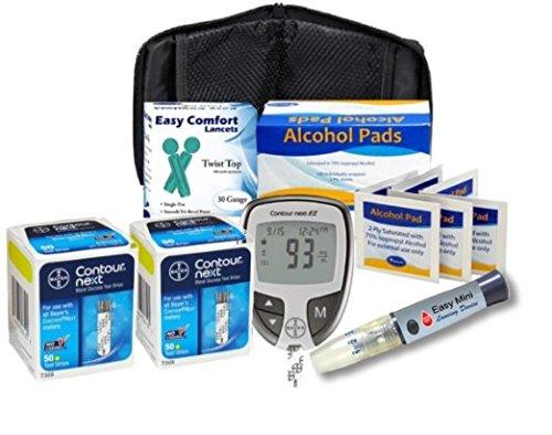 Contour Next Diabetes Testing Kit – Contour Next Ez Meter, 100 Bayer Contour Next Test Strips, 100 30g Slight Touch Lancets, 1 Lancing Device, Control Solution, 100 Alcohol Prep Pads