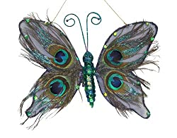 Exotic Regal Peacock Butterfly Feather Clip-On Christmas Ornament 9""
