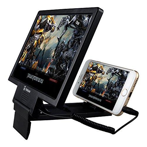 Tarkan Premium Mobile 3D Screen Enlarger Glass [Real HD] with Inbuilt Amplifier Music Speaker & Foldable Holder Stand [Royal Black]