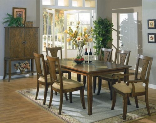 7pc Dark Distress Wood Finish Dining Room Table & Chairs Set