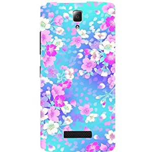 Casotec Floral Blue Pattern Print Design Hard Back Case Cover for Lenovo A2010