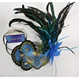 Exclusive veneciana de antifaz con plumas en colour azul - dorado
