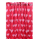 "Blue Alcove Printed Heart Door Curtain - 55""x82"", Red"