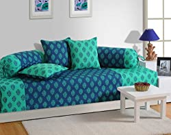 Swayam Diwan-e-Khaas Cotton 6 Piece Diwan Set - Turquoise (DWN16-2008)