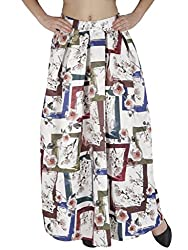 SVT ADA COLLECTIONS WHITE COLOR SATIN PRINTED LONG SKIRT(044406C_White_FS)