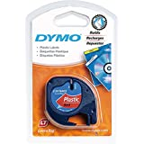 DYMO LetraTag Self-Adhesive Multi-Purpose Label Tape, 1/2-inch, Black Print on Red, 13-foot Cassette (91333)