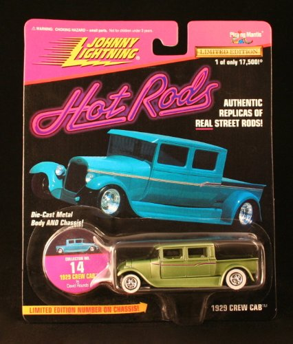1929 CREW CAB * OLIVE GREEN * Johnny Lightning 1997 HOT RODS Release Four 1:64 Scale Die Cast Vehicle - 1