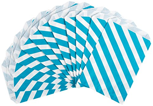 Party Partners Design 12 Count Paper Favor Bags, Aqua Stripe