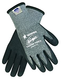 Memphis Glove N9690TCXXL Ninja Therma Force Double Layer Gloves with Bi-Polymer Dipped Palm and Fingertips, Gray, 2X-Large, 1-Pair