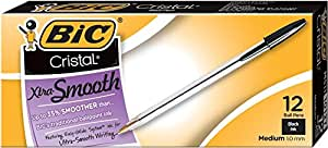 BIC Cristal Xtra Smooth Ball Pen, Medium Point (1.0 mm), Black, 12-Count