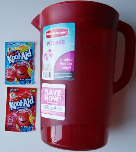 Rubbermaid Gallon Pitcher Limited Edition Color -Red (Bonus: 2 Kool-Aid Packages) Home & Kitchen front-497310