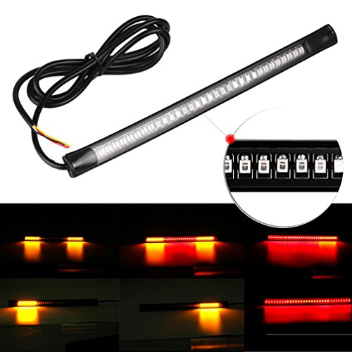 Swizze 3528SMD and 3014SMD Led String Flexible Strip 8 Soft 48 LED Tail Brake Stop Turn Lamp 30CM Amber For Car Motorcycles (Gmc Sierra 1500 3rd Brake Light compare prices)