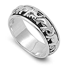 buy Elephant Spinner Eternity Wedding Ring New .925 Sterling Silver Band Size 12 (Rng15007-12)