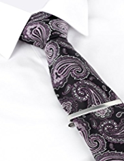 Boxed Pure Silk Paisley Tie with Tie Clip