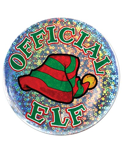 "Holiday Spirit Christmas Santa's Official Elf 3.5"" Button Costume Accessory"