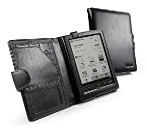 Tuff-Luv Leather case cover for (Sony Reader PRS-650 / PRS650 series / Touch edition) - (Traditional Book Style) Black