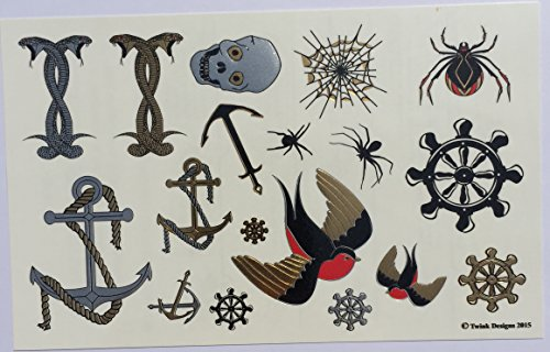 Temporary tattoos 4 pages of fun metallic temporary for Temporary tattoos for kids
