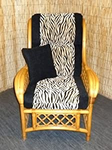 Luxury Cushion Covers for Cane Wicker and Rattan Conservatory and Garden Furniture - Black & Zebra Chenille - RRP £79.99 - By Zippy UK Ltd from Zippy UK