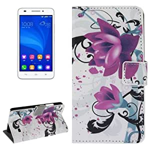 Flower Pattern Leather Case with Holder & Card Slots & Wallet for Huawei Ascend G620S