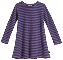 City Threads Baby Girls\' Cotton Long Sleeve Dress, Striped Purple, 12/18m