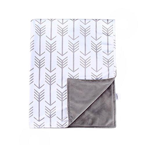 Towin Baby Arrow Minky Double Layer Receiving Blanket, Grey 30x40