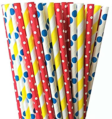 Yellow, Red and Blue Polka Dot and Stripe Paper Straw Combo- Circus Carnival or Birthday Party Supply 100% Biodegradable-7.75 Inches-Pack of 75