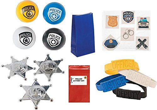 [Police Party favor set (Includes Badges, Bracelets, Bouncy Balls, Tattoos & Treat Bags)] (Bouncy Ball Costume)