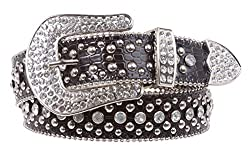 Ladies Rhinestone Studs Croco Print Leather Belt Color: Brown Size: S/M - 31