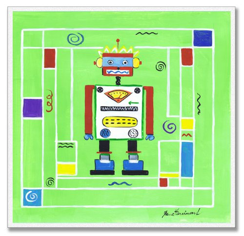 The Kids Room by Stupell Robot on Green Background Square Wall Plaque