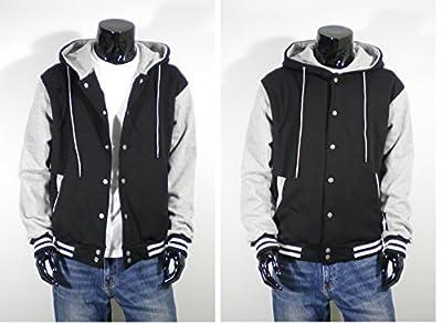 U World Men's Hoodie Cotton Baseball Varsity Jacket Gray