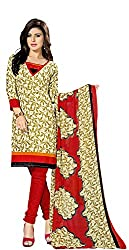Ethnic For You Crepe Unstitched Salwar Suit Dress Materials(Beige,Multi)